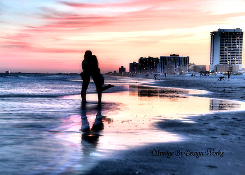 ocean sunset reflection beach water girl newjersey nj atlantic atlanticcity hdr imagebydesignworks