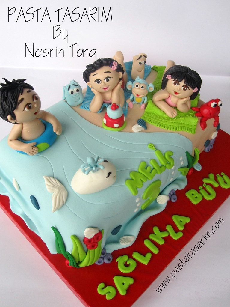 Magnificent Dora And Diego In The Beach Melis Birthday Cake Cake By Nesrin Personalised Birthday Cards Epsylily Jamesorg