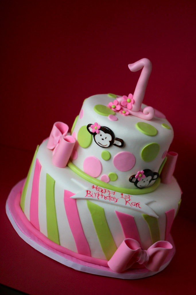 Astounding 1St Birthday Monkey Cake Karolina Derden Flickr Funny Birthday Cards Online Kookostrdamsfinfo