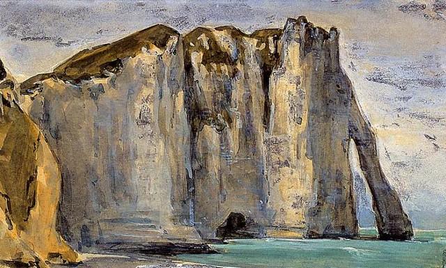 Eugène Delacroix - Cliff at Étretat (c 1859)