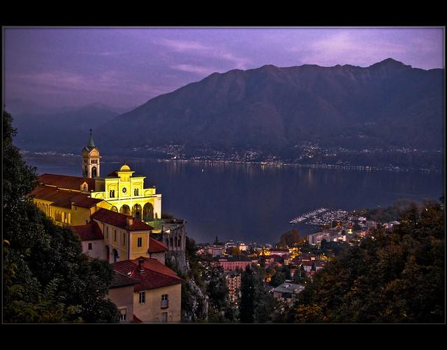 Locarno, Madonna del Sasso at night./Switzerland./101