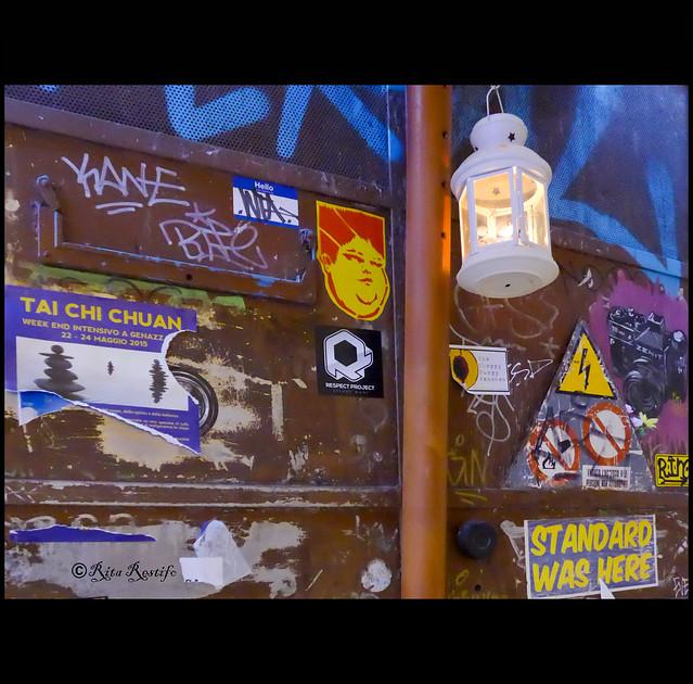 Trastevere. Street art by JBRock, El Gat Mao, Standard574
