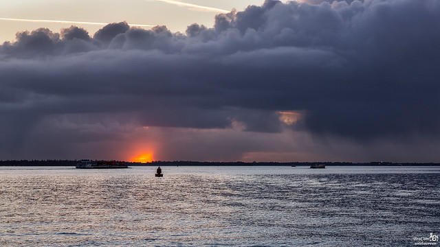 Heavy clouds during sunset