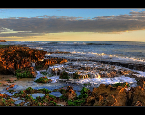 sunset sun beach water beautiful landscape rocks dusk hdr d90