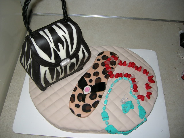 purse, flip flop and jewelry cake
