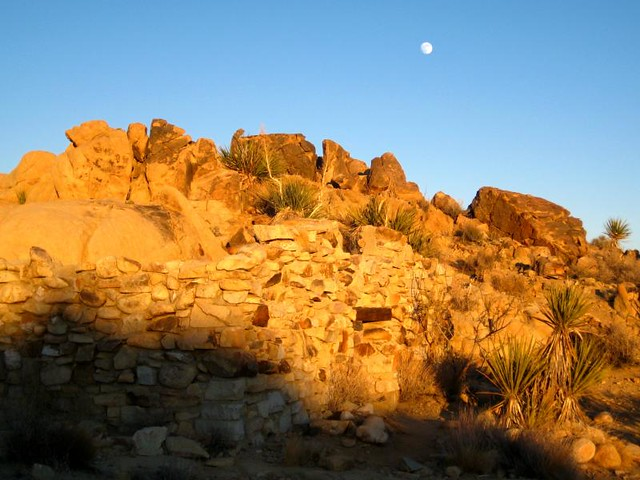 Joshua Tree National Park, Desert Queen Mine, Ruin at Sunset
