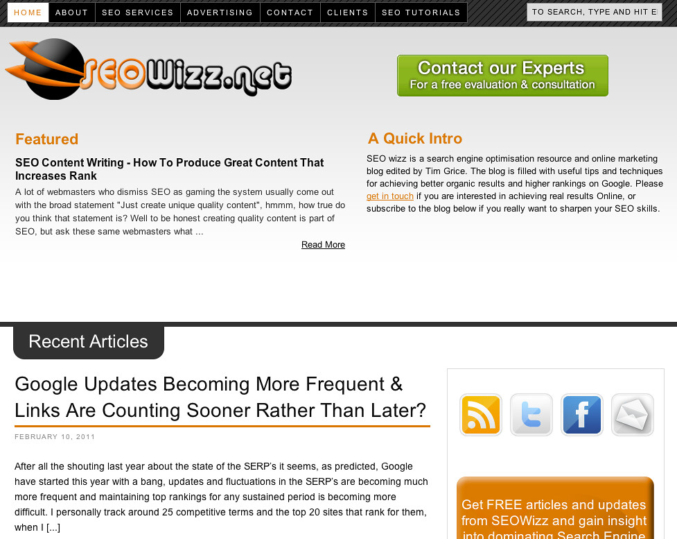 SEO Wizz - Screenshot of SEO Wizz blog for TopRank Online Ma… - Flickr