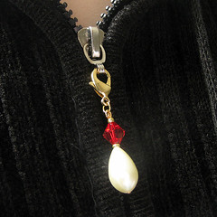 Teardrop Pearl and Ruby Red Pendant Charm