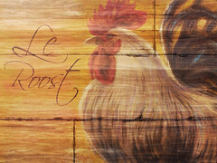 le roost belle plume rooster sign