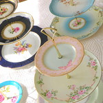 vintage china tea and cupcake stands by high tea for alice