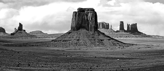 Stitched photo of Monument Valley in black and white