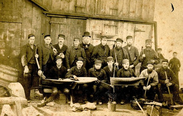 The Fife workforce pose with the tools of their trade.  William Fife (II) stands in the back row wearing a bowler hat.