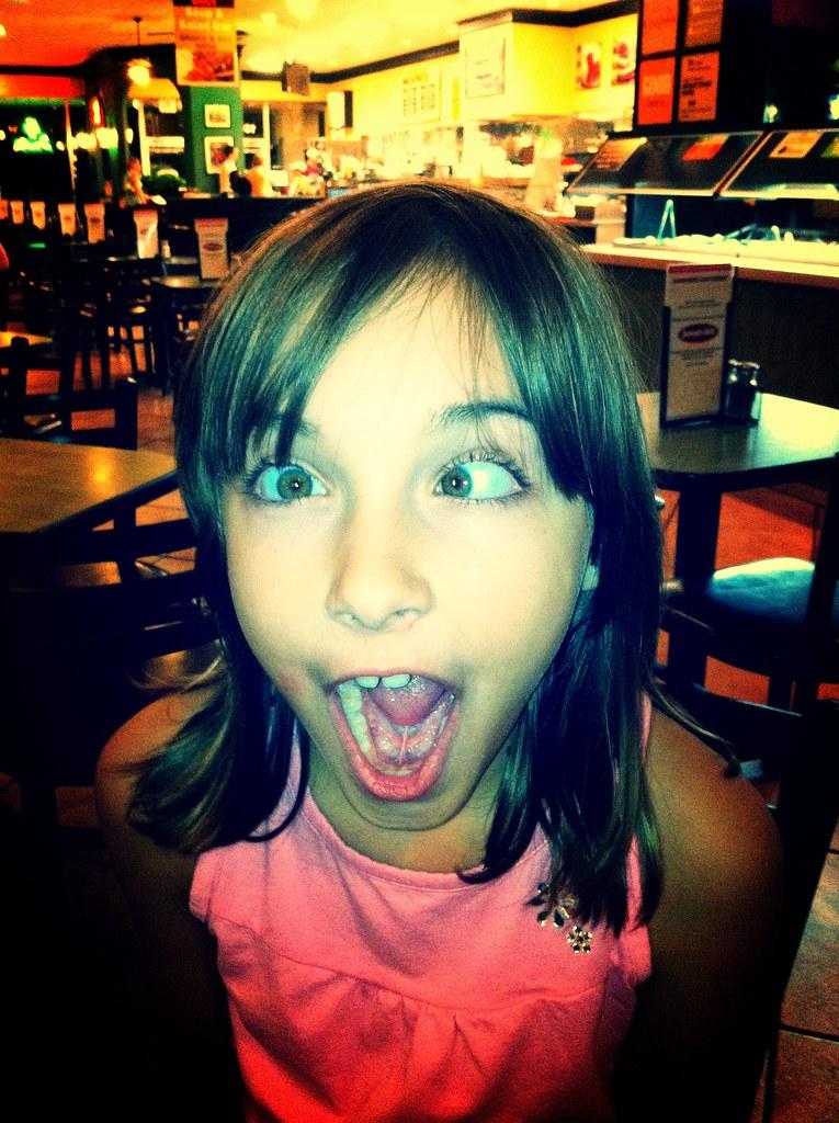 Meagan posing at Jason's Deli