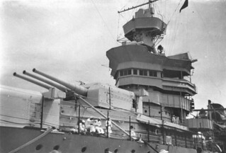 Gun turret and bridge of an American warship docked in Brisbane, March 1941
