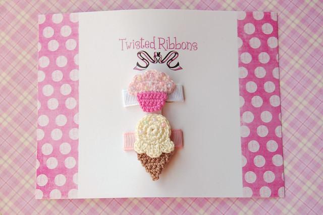 Crocheted icecream cupcake set