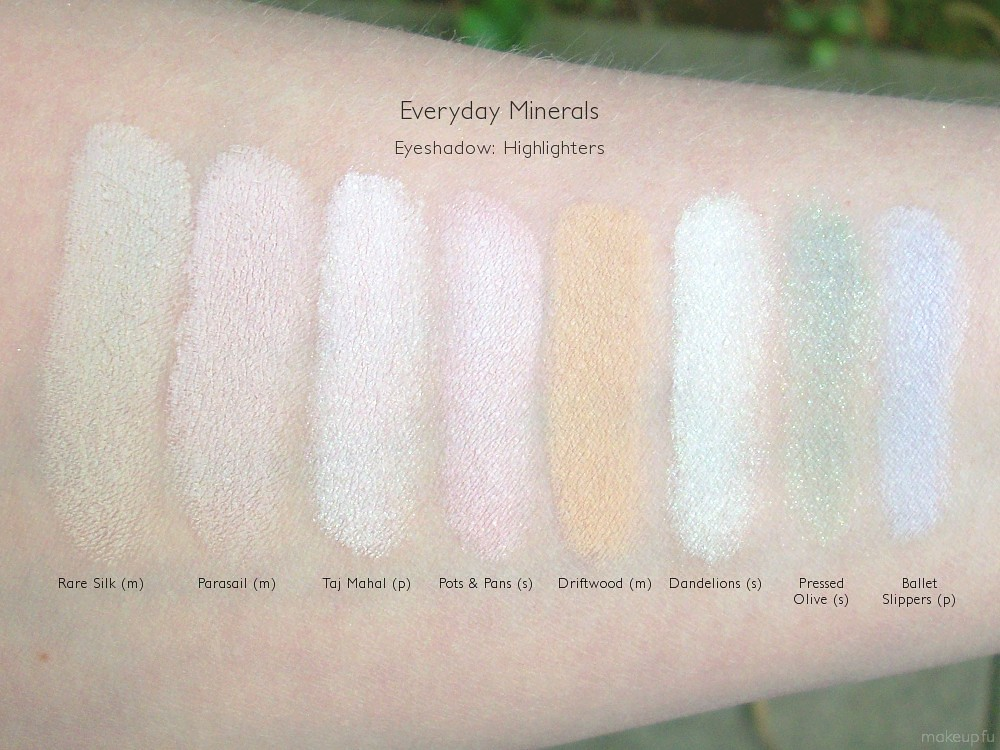 Everyday Minerals Highlighters Eyeshadow Swatches