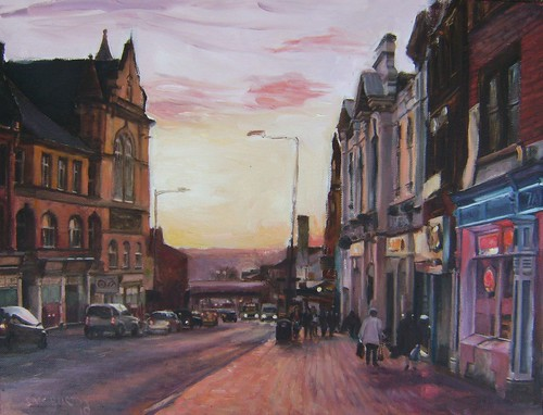 Wakefield Westgate Purple Sunset painting