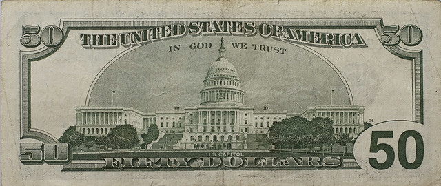 Fifty dollar bill, back (2013)