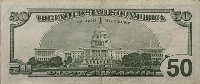 Fifty dollar bill, back (2013)