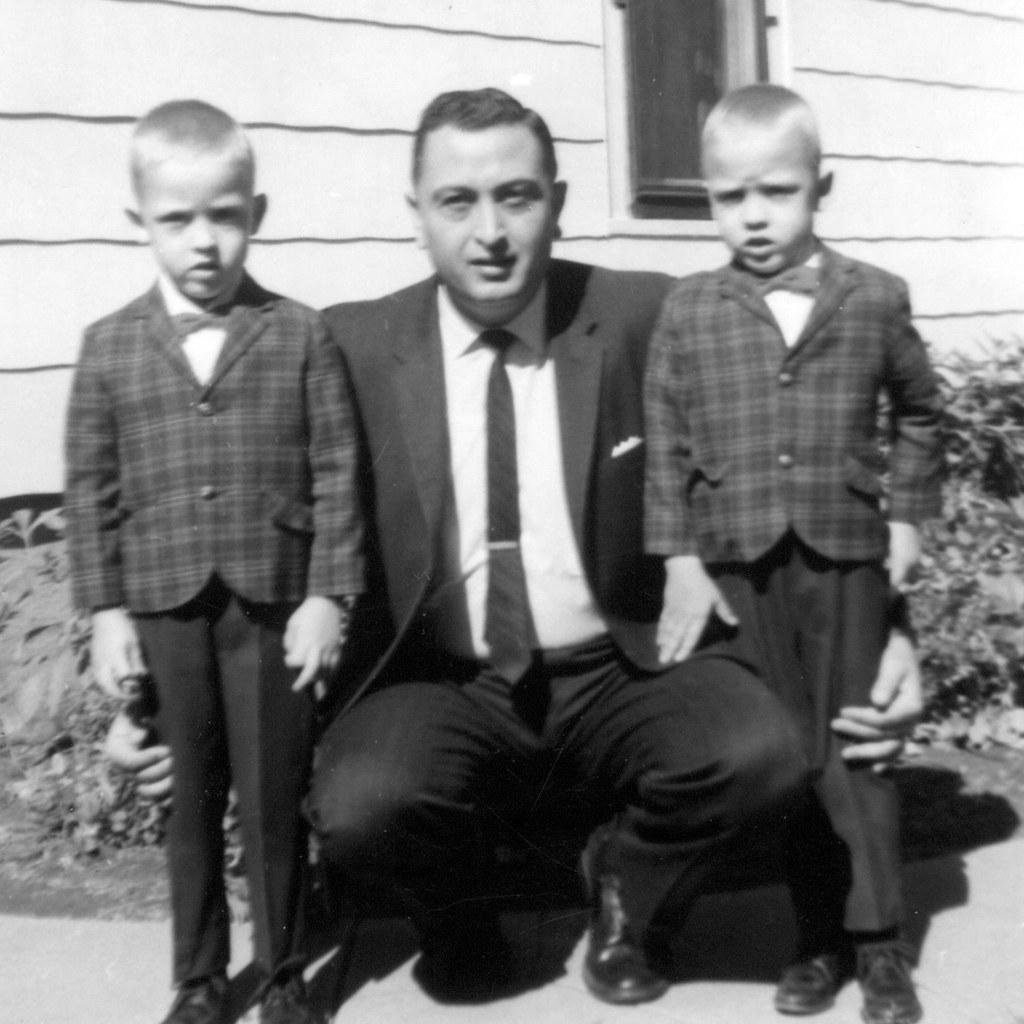 Freddie and Frankie with Dad on Fourth Birthday 1964