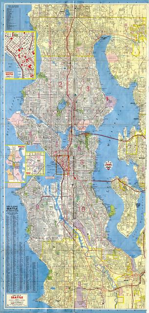 Seattle  Street Map 1966 Chevron