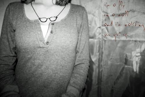 blackandwhite selfportrait fall girl necklace teenager inside sayanything intothenight callmebitter imaflyonthewallandimwatchingyougiveup