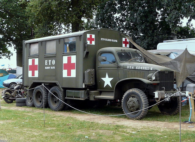 WW2 GMC CCKW 2.5 ton ETO Blood Bank truck at the War and Peace Show