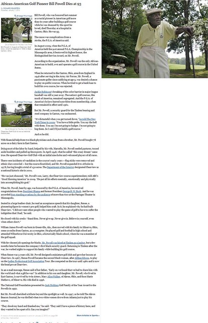 Golf Pioneer Bill Powell Dies at 93 in Canton, Ohio - January 1, 2010
