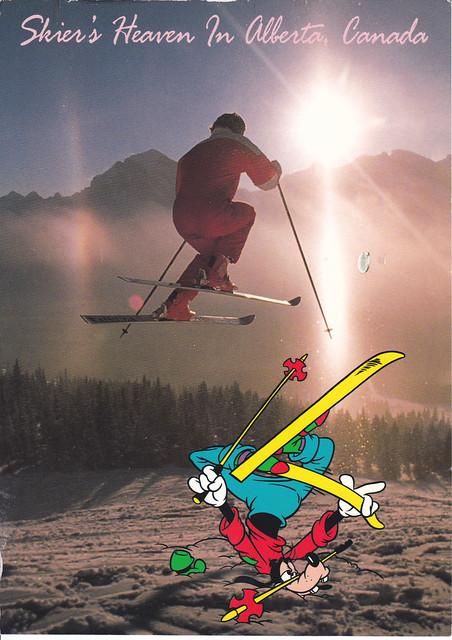 Goofy Skiing In Canada Postcard