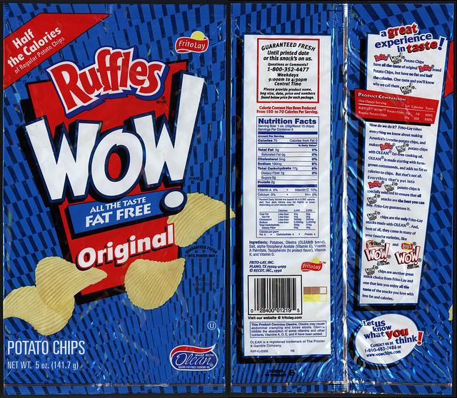 Frito-Lay - Ruffles WOW Original potato chip bag - late 1990's