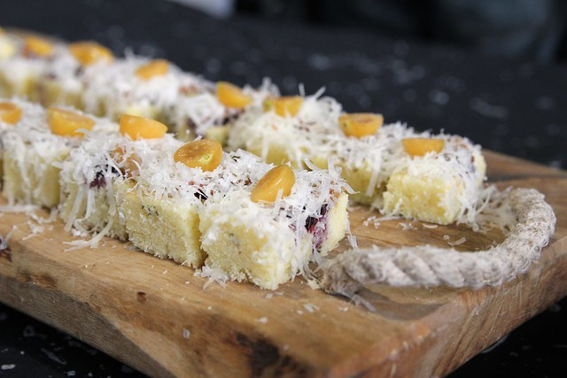 Savoury Thyme Pound Cake with Wild Blueberry Jelly, Guanciale, Monteforte Toscano