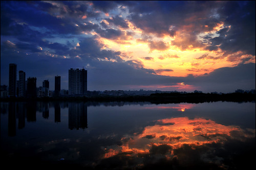 blue red urban orange lake reflection building water clouds sunrise mumbai navi nerul d5000 antopix