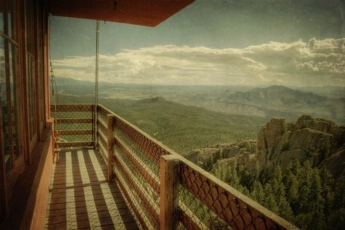 trees summer sky mountains clouds canon vintage landscape colorado rocks ranger afternoon grunge lookout cliffs aged railing hdr thundermountain firetower firelookout devilshead rampartrange pikenationalforest t1i