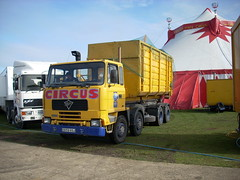 quicksilver coaches posted a photo:	E659 XGJ1988 Foden 4300Moscow State CircusCampbell Park, Milton Keynes, 14 March 2008Circuses inevitably generate a lot of waste which has to be disposed of and some of the larger shows employ their own skip lorry for this duty. The Moscow State had this Foden seen leaving the Campbell Park ground with another load destined for the local tip. In 2019 this lorry is now on SORN and it appears to have been replaced a few years ago by a newer Foden hook-loader (L960 PWU).