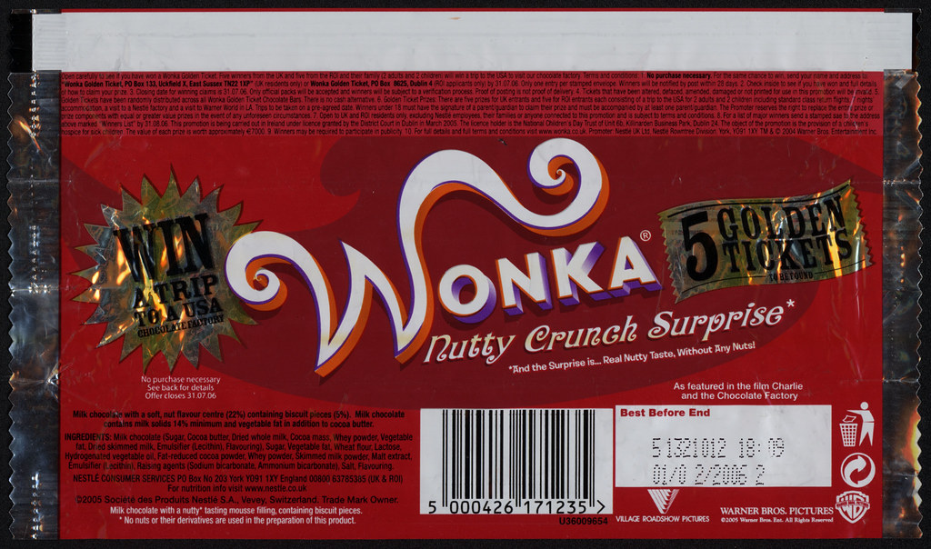 Uk Nestle Wonka Nutty Crunch Surprise Candy Bar Wrap