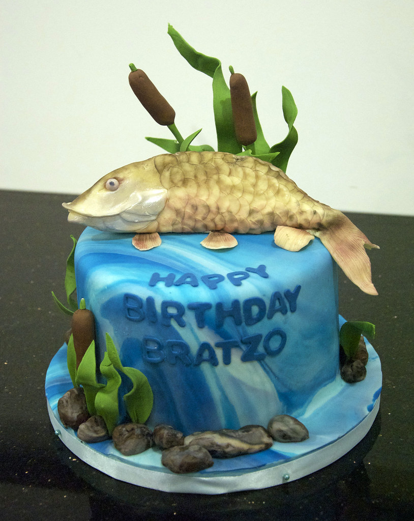 Superb Musky Fish Birthday Cake A Hand Sculpted Musky Fish Made O Flickr Birthday Cards Printable Trancafe Filternl