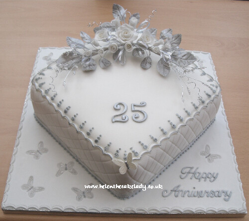 Silver wedding anniversary cake 25th