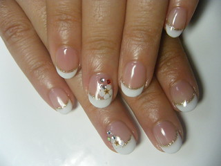 gel nail simple french with flower accent  negril nail