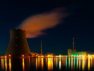 "Nuclear power plant ""Isar"" at night 