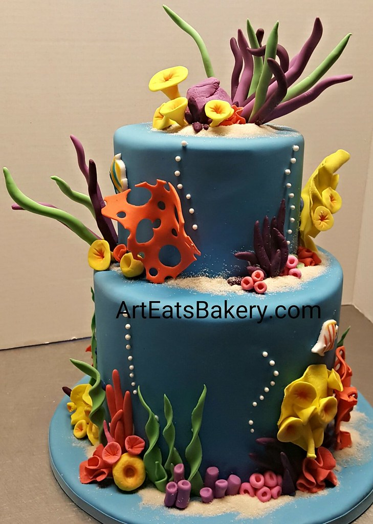 Admirable Under The Sea Kids Birthday Cake With Edible Sand Coral Tropical Funny Birthday Cards Online Chimdamsfinfo