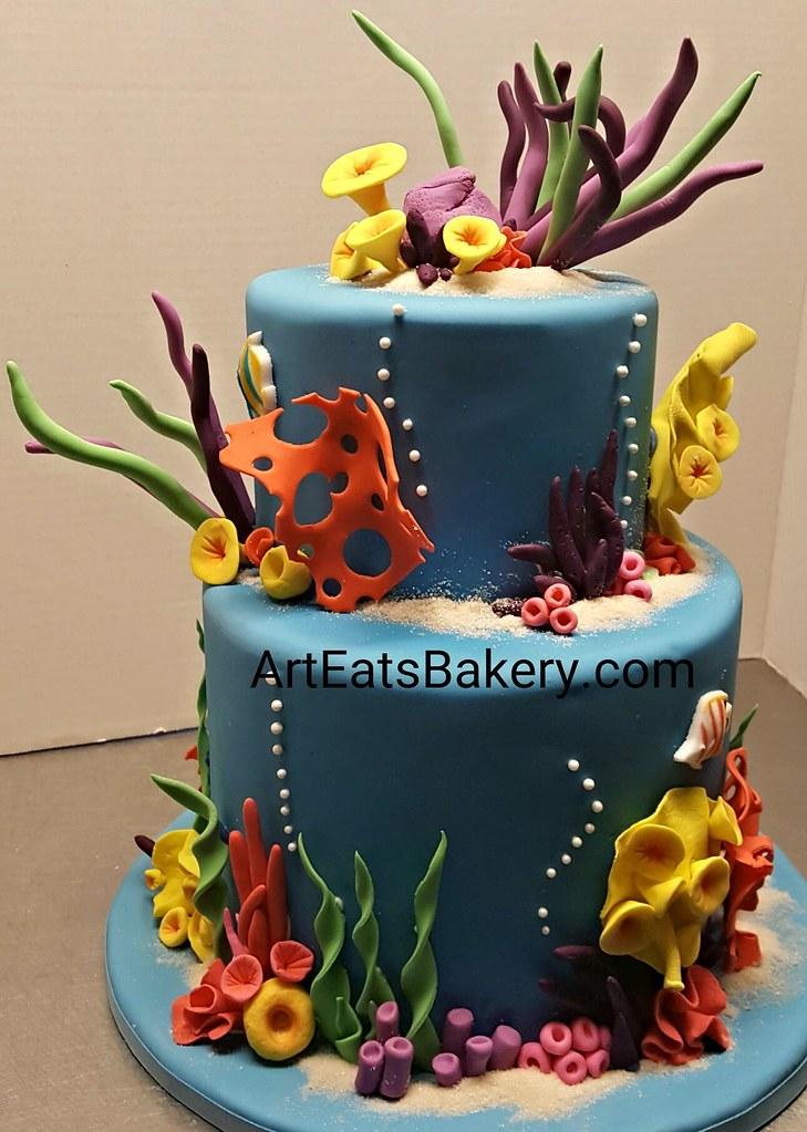 Peachy Under The Sea Kids Birthday Cake With Edible Sand Coral Tropical Funny Birthday Cards Online Inifodamsfinfo
