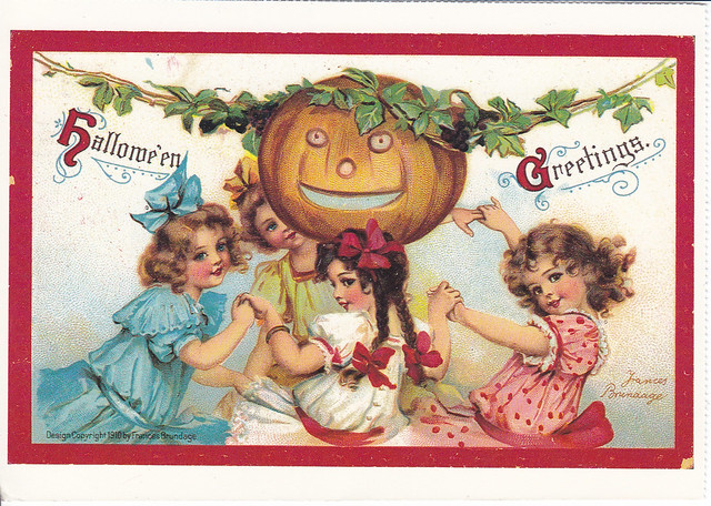 Halloween Vintage Reprint Postcard