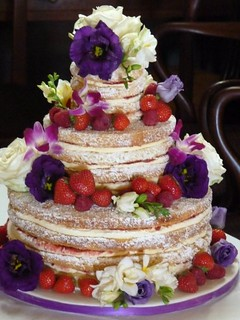Victoria sponge wedding cake with fresh flowers and fruit | by Bath Baby Cakes