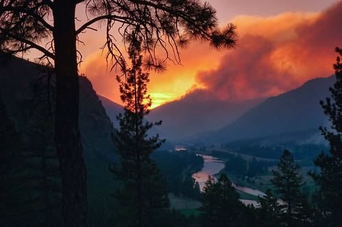 sunset summer sun rural landscape wildlife wildfire mountana ftre