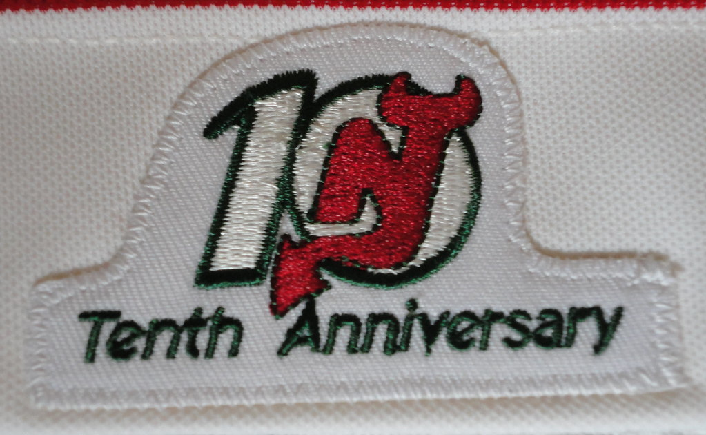1991-92 Martin Brodeur New Jersey Devils Away Rookie Jersey 10th Anniversary Patch
