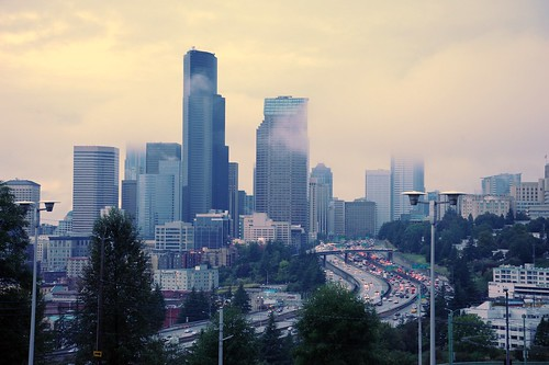 Some place to call home; Seattle Washington from the PAC-MED parking lot, Amazon, USA | by Wonderlane