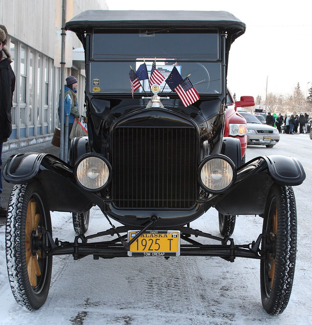 An old car getting ready for the Fur Rondy parade