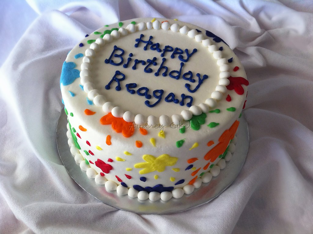 Swell Paint Splatter Cake Bright Colors Splash All Over This Bir Personalised Birthday Cards Sponlily Jamesorg