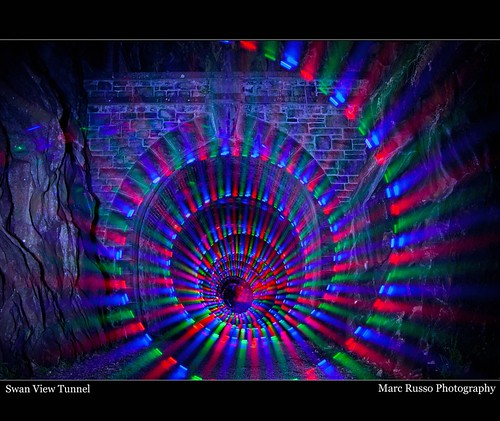 light painting swan colours view tunnel