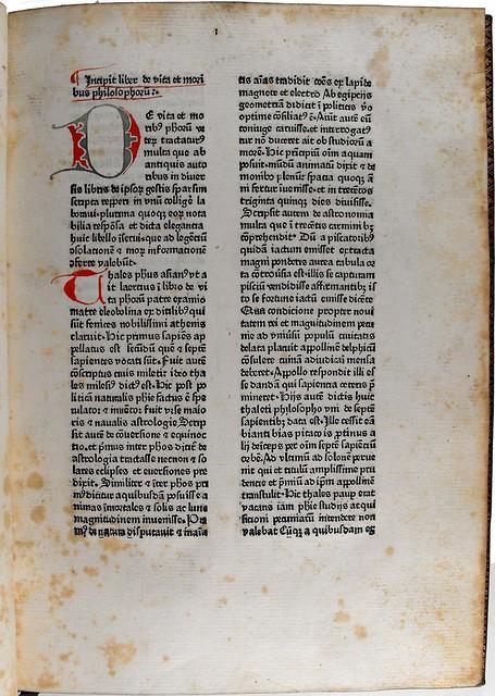 Penwork initial in Burlaeus, Gualtherus: De vita et moribus philosophorum